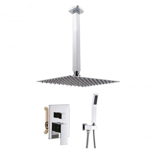 Ceiling Mount Bathroom Luxury Rain Mixer Shower Combo Set Ceiling Install Rainfall Shower Head System