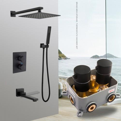 Constant temperature in-wall shower set, concealed smart shower, all-copper shower box embedded, matt black concealed shower