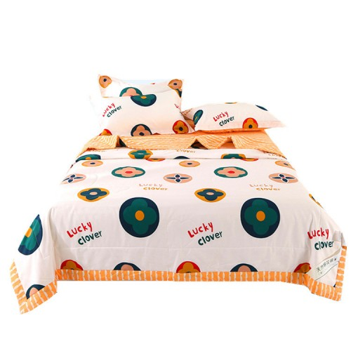 100% cotton, cotton inside and outside, one-piece summer quilt, four-piece set, fresh color, comfortable texture, thin summer quilt