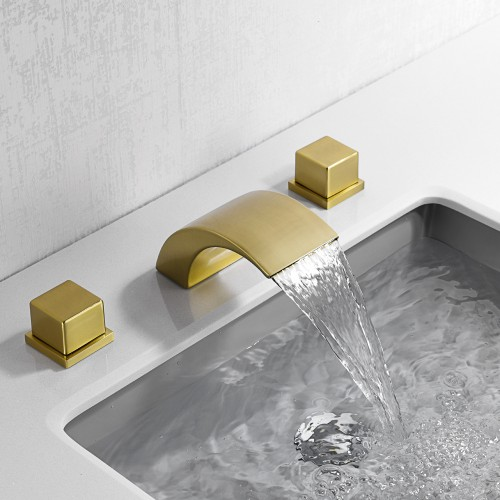 Brushed gold, simple and light luxury hot and cold water faucet, bathroom cabinet wash basin faucet, three-piece set