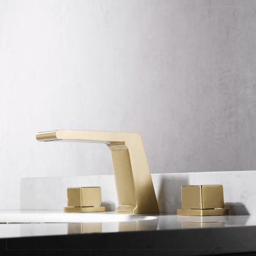 Brushed gold, light luxury style, split basin faucet, double-handle three-hole washbasin faucet