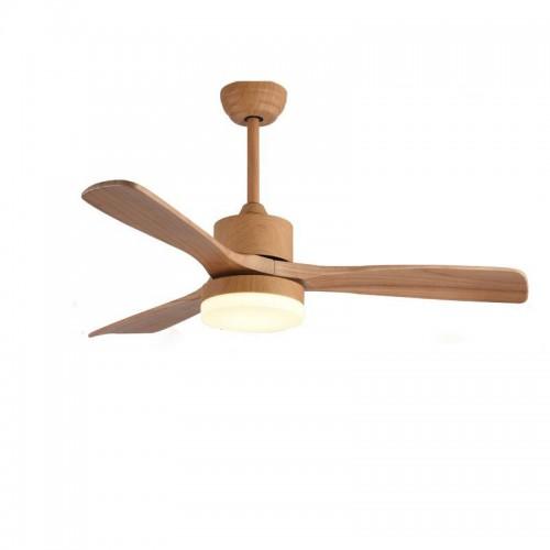 Wood Ceiling Fan With Lights, 3 Carved Wood Fan Blade Ceiling Fans, Noiseless Motor, Fan With LED Lights