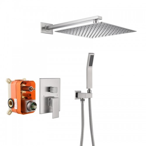 Brass, square concealed shower set, embedded in the wall, embedded box, mixing valve, faucet pressurized, 10-12 inch shower head