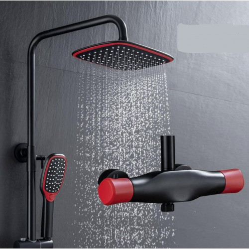 Pure brass faucet, black and red thermostatic shower, personality fashionable, Chinese red shower system, Wall-mounted