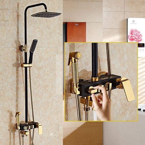 Shower System, Inlaid Gold Copper Antique Black Four Mode Faucet Supercharged Shower Wall-Mounted Stainless Steel Shower Faucet Sets, Luxury Shower Set