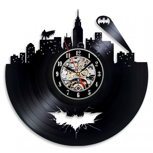 Vinyl Evolution Batman Arkham City Logo Best Wall Clock - Decorate your home with Modern Large Superhero Art - Gift for friend, man and boy