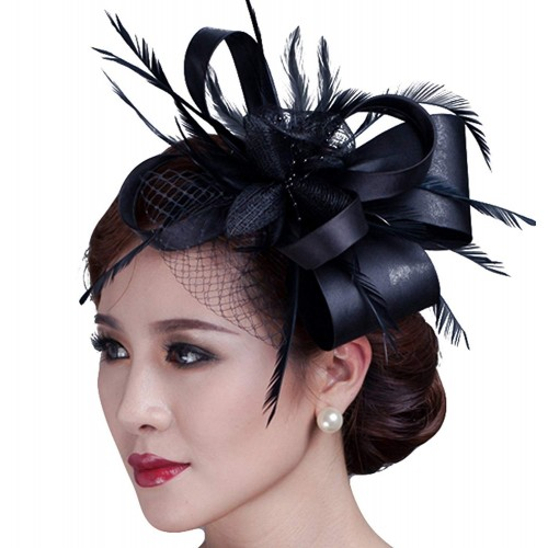 Hat Feather Party Pillbox Hat Flower Derby Hat for Women