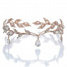 Elegant Rhinestone Leaf Wedding Headpieces Headband Bridal Tiara Crown