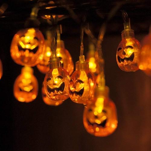 2 PACK LED Pumpkin String Lights for Halloween Party 22cm String Lights decorative light