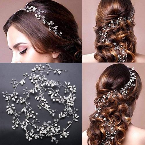 39.37in Handmade Luxury Crystal pearl Long Bridal Headband Headpiece Rhinestones Hairbands Wedding Hair Accessories Bride Head Chain