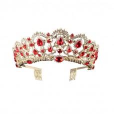 Baroque Royal Queen Gold Wedding Crown Crystal Princess Tiara Headbands for Women Bridal Party Birthday Headpieces