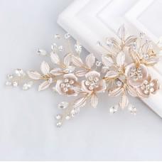 Light Rose Gold Wedding Clip Rhinestone Bridal Comb Barrette - Handmade Flower Clip Head Pieces for Women