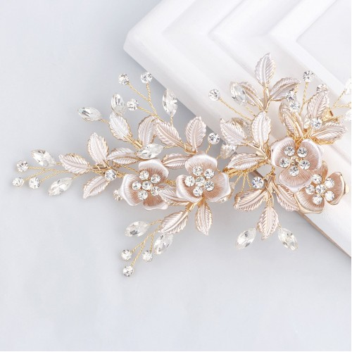 Light Rose Gold Wedding Clip Rhinestone Bridal Comb Barrette - Handmade Flower Clip Head Pieces for Women