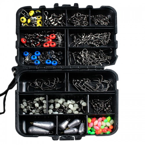 177pcs Fishing Accessories Kits Hooks Swivels Sinker Stoppers Sequins With Fishing Box
