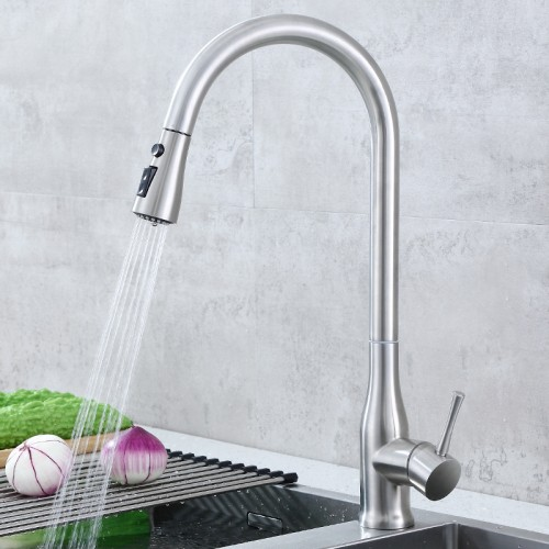 304 stainless steel faucet kitchen  single handle  pull down sprayer faucet mixing valve