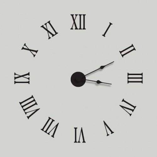 Roman Numeral Wall Clock Removable Vinyl Decal - 22.5 Diameter - Black - Complete Kit with Working Clock Motor and Hands By Katazoom Wall Decals