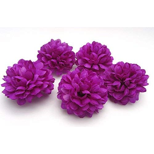 Artificial Fake Flower Silk Daisy Spherical Heads Bulk Wedding Party Home Decor Deep Purple 5x4cm 30 Pcs