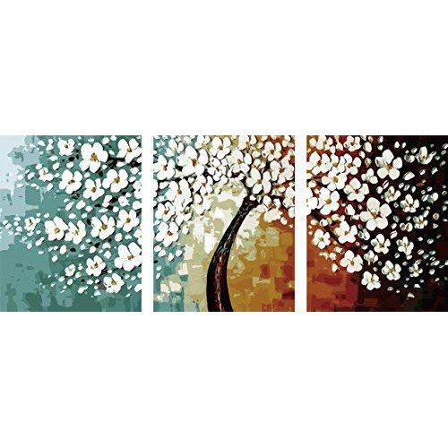 Heronear Art -Diy oil painting, paint by number kit Flowers 16x20in Set of 3 Panels Unframe