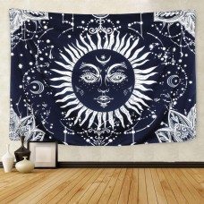 Psychedelic Moon and Sun Tapestry Wall Hanging Dark Blue White Bohemian Mandala Tapestry