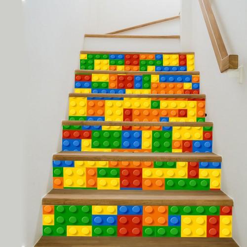 DIY Building Blocks Decoration Stairs Decals Creative Lego Stairs Sticker 6pcs