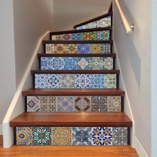Beautiful Tile Stickers - DIY Mexican style Stair Mural Decals for Bathroom & Kitchen - 6 PCS