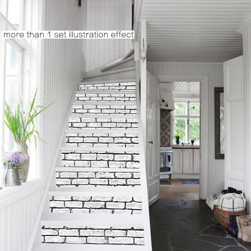 White Tile Stickers, DIY Stair Waterproof Wall Sticker Bathroom Kitchen 6 PCS