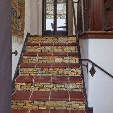 """Stone Stair Stickers DIY Staircase Decals Decorative Waterproof 6 Pcs 7""""x 39"""""""