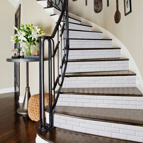 """DIY White Imitation Porcelain Stair Stickers Simple Wall Sticker 39""""*7"""""""