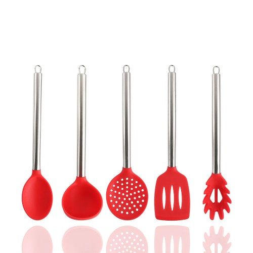 5-Piece Silicone and Stainless Steel Kitchen Baking Utensil Set