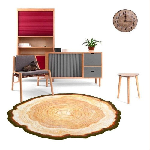 Creative Ancient Tree Round Carpet Bedroom Living Room Non-skid Carpet