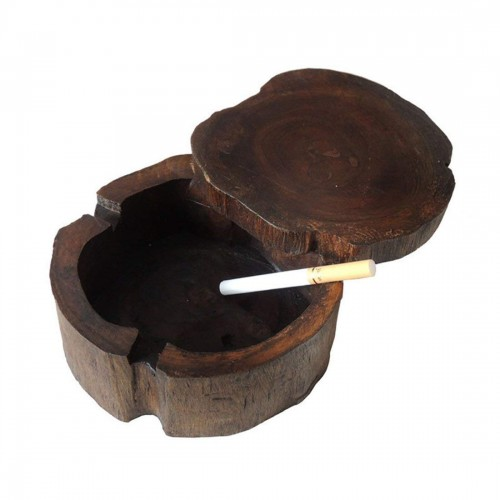 Unique Handmade Vintage Original Antique Wooden Wooden Cigarette Ashtray with Windproof Lid