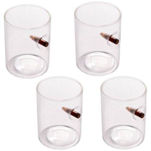 Hand-blown Bullet Whisky Glasses set of 4