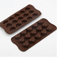 15-Cavity Silicone Valentine Heart Shape Chocolate Mold Set of 2