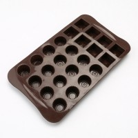 24-Cavity Silicone Circle and Square Multi-Shape Chocolate Mold Set of 2