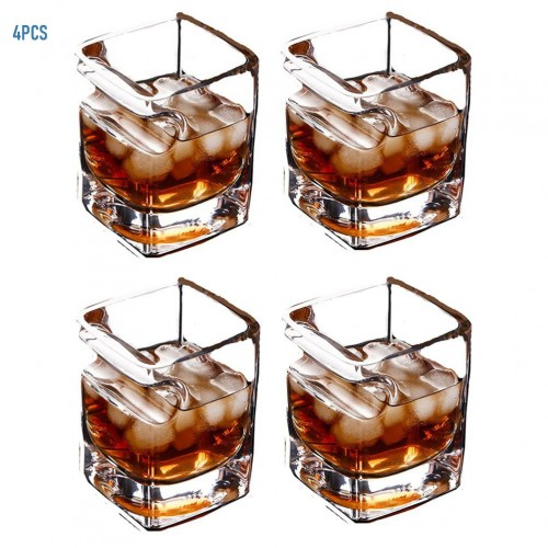 Cigar Glass(Set of  4) Whiskey Glass Cup With Cigar Holder Groove Rack