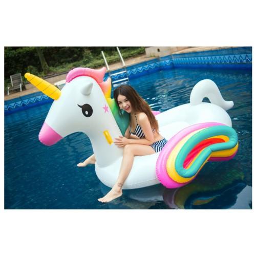 Giant Inflatable Rainbow Unicorn Pool Float Raft Floaty Lounger