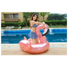 Inflatable Rose Gold Flamingo Pool Float Raft Floaty Lounger Pool Toy