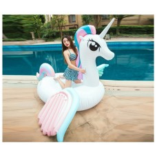 Inflatable Candy Color Unicorn Pool Float Raft Floaty Lounger Pool Toy