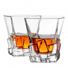 Double Old Fashioned Iceberg Whiskey Glasses Set of 2
