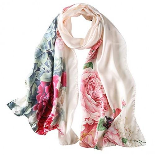 Women's 100% Mulberry Silk Scarf, Sunscreen Shawls Long Scarf Hangzhou Silk