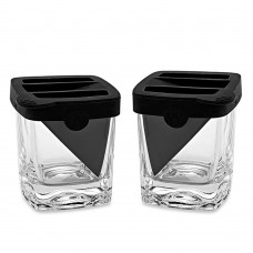 Whiskey Wedge Old Fashioned Glass + Silicone Ice Form Set of 2