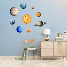Creative solar system eight planets luminous wall stickers