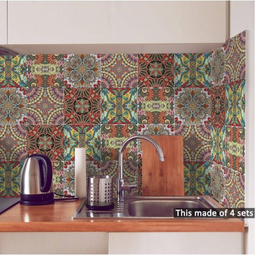 Bedroom living room kitchen Indian style tile sticker wall sticker