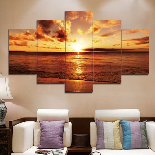 Canvas inkjet art deco combination painting, Sunset over the sea