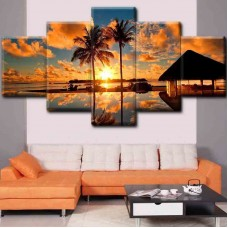 Canvas inkjet art deco combination painting, Sunset over the island