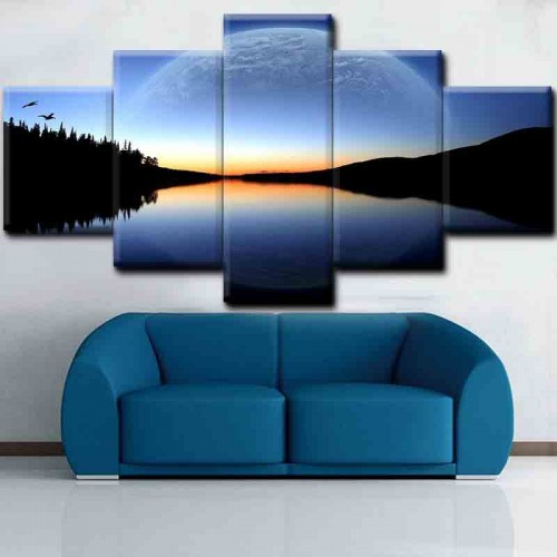 Canvas inkjet art deco combination painting, Lake and mountains