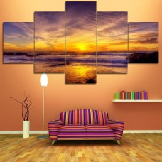 Canvas inkjet art deco combination painting, Twilight at sea