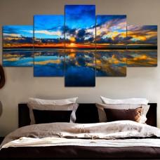 Canvas art combination painting, Blue sky calm lake brilliant sunset