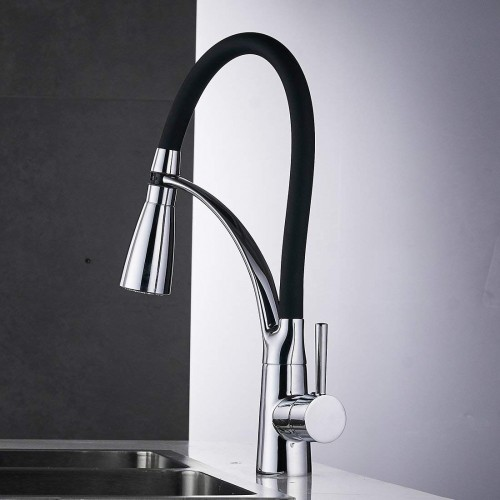 LED Light Single Lever Pull Out Sink Mixer Kitchen Faucet