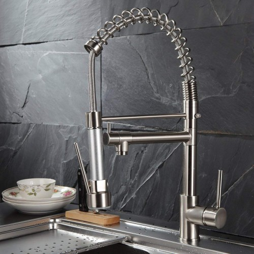 Spring Single Handle Kitchen Sink Faucet with Pull Down Sprayer